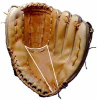 Baseball glove repair and Glove Stuff® baseball glove cleaner and conditioner - photo of a baseball glove showing where to apply Glove Stuff®